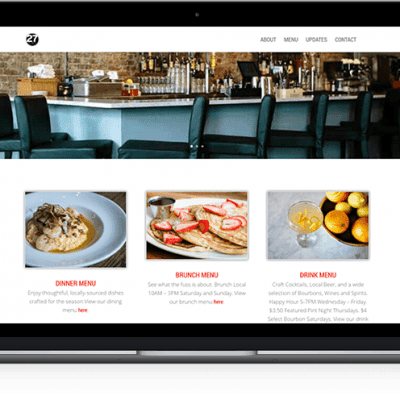27 Bar Kitchen's website mockup on laptop